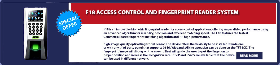 F18 ACCESS CONTROL AND FINGERPRINT READER SYSTEM